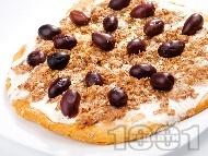 Пица със сметана, риба тон и маслини